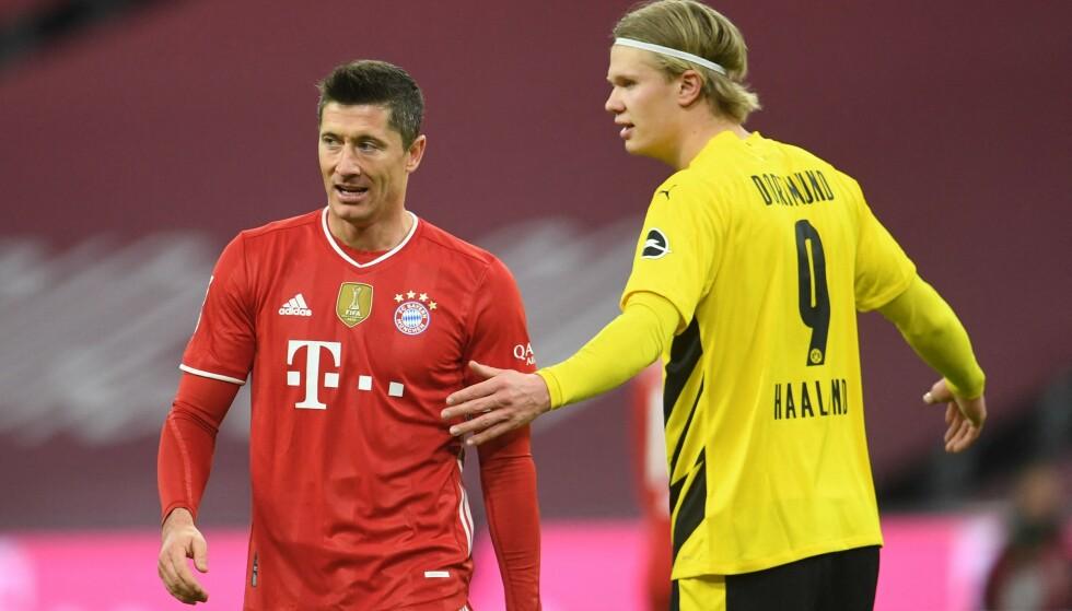 IKKE MED: Bayern München (her representert ved Robert Lewandowski) og Borussia Dortmund (representert ved Erling Braut Haaland). Foto: ANDREAS GEBERT / POOL / AFP / NTB
