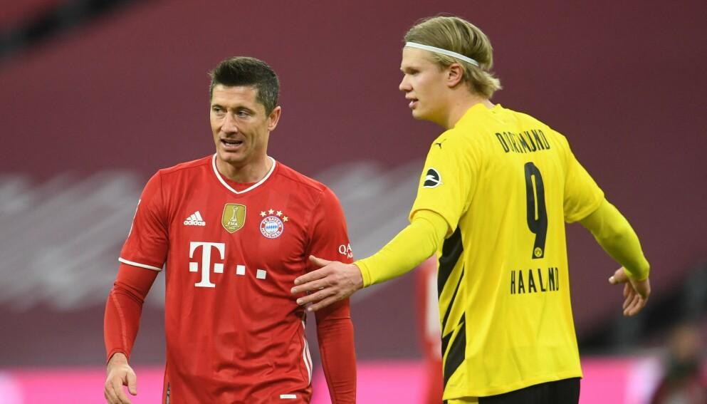 STJERNEMØTE: Robert Lewandowski (t.v.) scoret tre mål da Bayern München slo Erling Braut Haaland og Borussia Dortmund. Selv hadde nordmannen to nettkjenninger. Foto: NTB