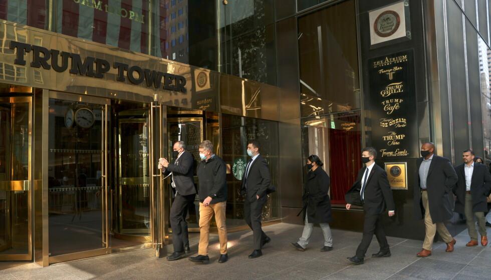 TRAPPET NED: Sikkerhetsoppbudet rundt Trumps mektige skyskraper ble trappet ned i slutten av januar. Foto: Caitlin Ochs / Reuters / NTB