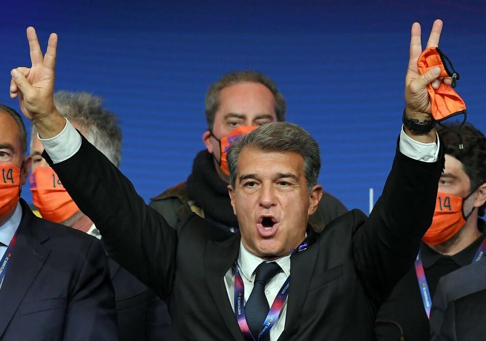 SEIER: Joan Laporta kunne strekke armene i været lenget før alle stemmene var talt opp i den katalanske hovedstaden.