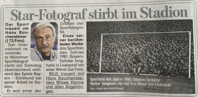 OVERSKRIFTER: - Stjernefotograf døde på stadion, skriver storavisa Bild mandag.