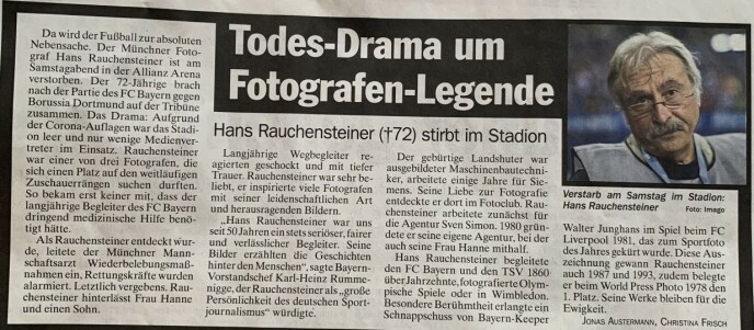 TRIST: - Fotograflegende i dødsdrama, melder München-avisa TZ i dag.