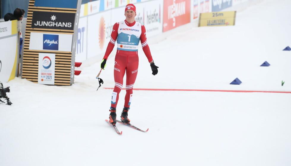 KNUST: Aleksandr Bolsjunov etter målgang på femmila i Oberstdorf. Foto: Bjørn Langsem / Dagbladet