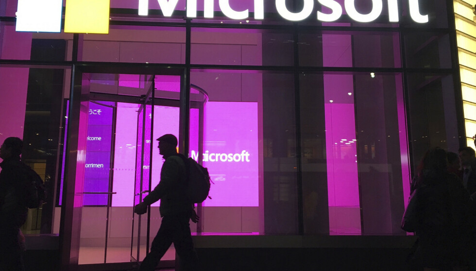 ANGREPET: Microsofts kontorer i New York i USA. Foto: AP Photo/Swayne B. Hall, File