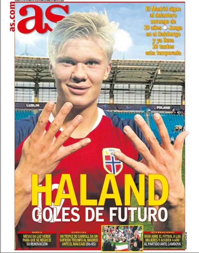 FØRSTE GANG: 11. oktober 2019 var første gangen Haaland prydet en forside i den spanske pressen.