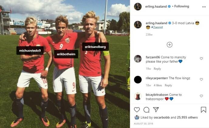 RELASJONEN: Allerede i 2016 dukket de første referansene til Michu opp fra Haaland. Foto: erling.haaland på Instagram