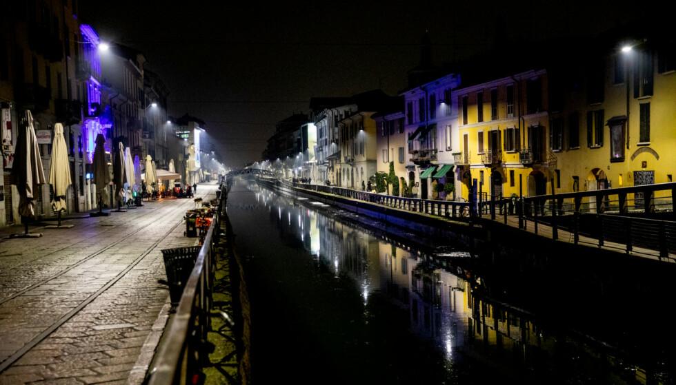 LOCKDOWN: Den italienske regjeringen har godkjent en forskrift som sender mesteparten av landet i full lockdown. Her fra Milano. Foto: Christian Roth Christensen / Dagbladet