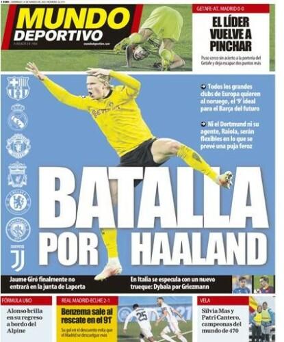 KAMPEN: Mundo Deportivo hadde forsiden på søndag der de hevdet at «Kampen om Haaland» var i gang for alvor. Foto: Faksimile av Mundo Deportivo.