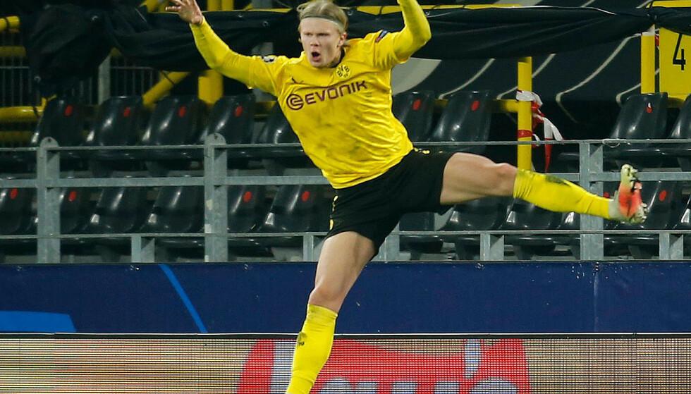 BRENNHEIT: Erling Braut Haaland scorer og scorer. Det har bragt den norske superspissen til topps på storklubbenes ønskelister. Foto: Reuters