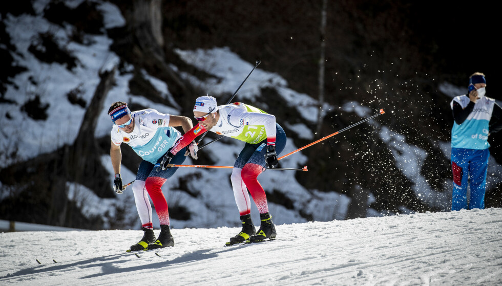 TESTER VIDERE: Emil Iversen tester ski sammen med broren Mats under VM i Oberstdorf. Med eller uten fluor – the show must go on. Foto: Bjørn Langsem / Dagbladet
