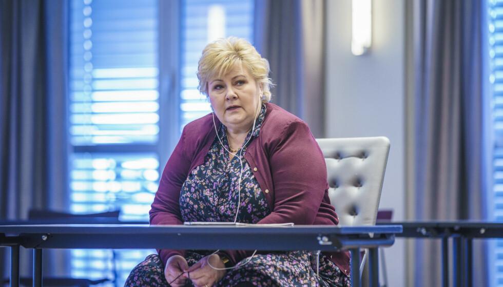 LEI?: Statsminister og partileder i Høyre, Erna Solberg, etter talen til sentralstyret i Høyres hus i Oslo. Foto: Stian Lysberg Solum / NTB