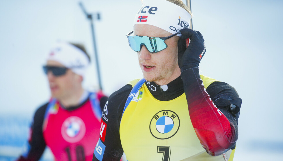 TAPTE: Johannes Thingnes tapte terreng til Sturla Holm Lægreid i sammendraget i verdenscupen. Foto: NTB