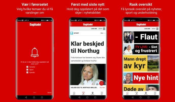 OVERSIKTLIG: Slik ser Dagbladet-appen ut.