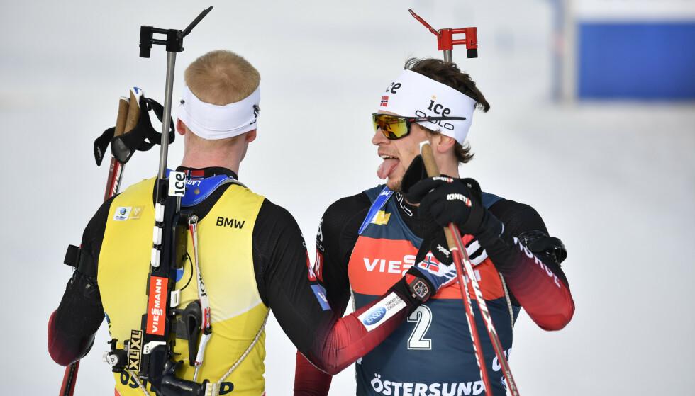 IKKE FORBEREDT: Johannes Thingnes Bø var ikke forberedt på konkurransen fra Sturla Holm Lægreid denne vinteren. Foto: Anders Wiklund/TT / NTB