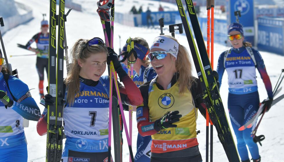 STOR JOBB: Både Ingrid Tandrevold og Tiril Eckhoff erkjenner at de har en stor jobb foran seg for å takle OL-forholdene. Foto: NTB