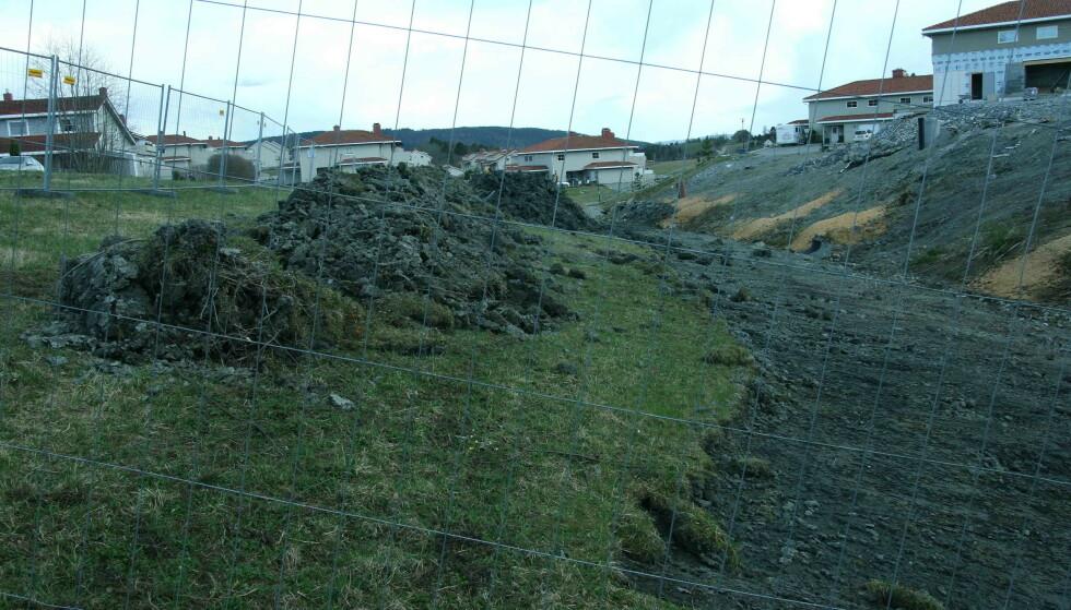 GRAVDE I BEKKEDAL: I april 2016 ble det gravd i bekkedalen mellom Viervangen (til høyre på bildet) og Ingelstun, viser dette og flere andre bilder. Foto: Kåre Homble, Naturvernforbundet
