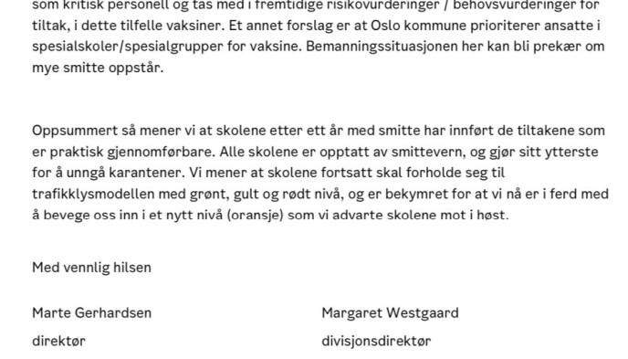 - BEKYMRET: Marte Gerhardsen advarte Inga Marte Thorkildsen mot å innføre et oransje nivå i Oslo-skolene.