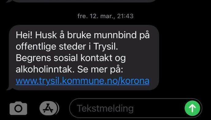 VARSLING: Trysil kommune sender ut SMS til folk som kommer på besøk. Foto: Privat