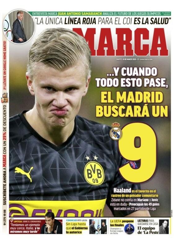...OG NÅR ALT DETTE ER OVER, SÅ SKAL MADRID HA EN SPISS: 24. mars 2020 er første gangen Haaland pryder Marcas forside.
