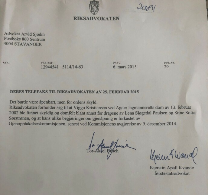 FAKSIMILE: Brevet fra Riksadvokaten.