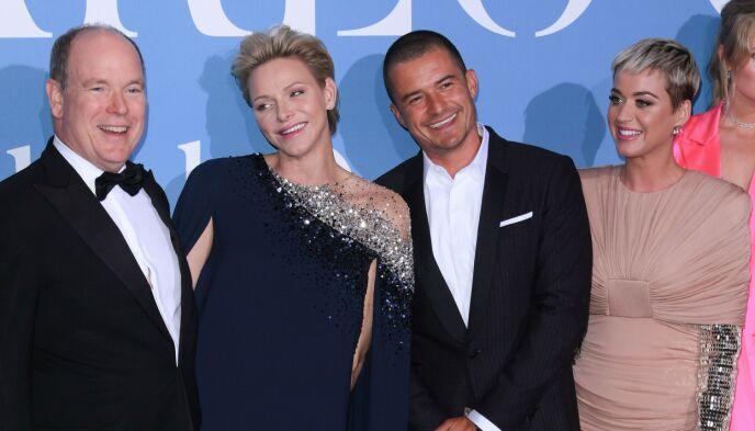 KJENDISVENNER: Fyrsteparet menger seg ofte med Hollywood-kjendiser, her med artist Katy Perry og skuespiller Orlando Bloom. Foto: David Fischer / REX / NTB