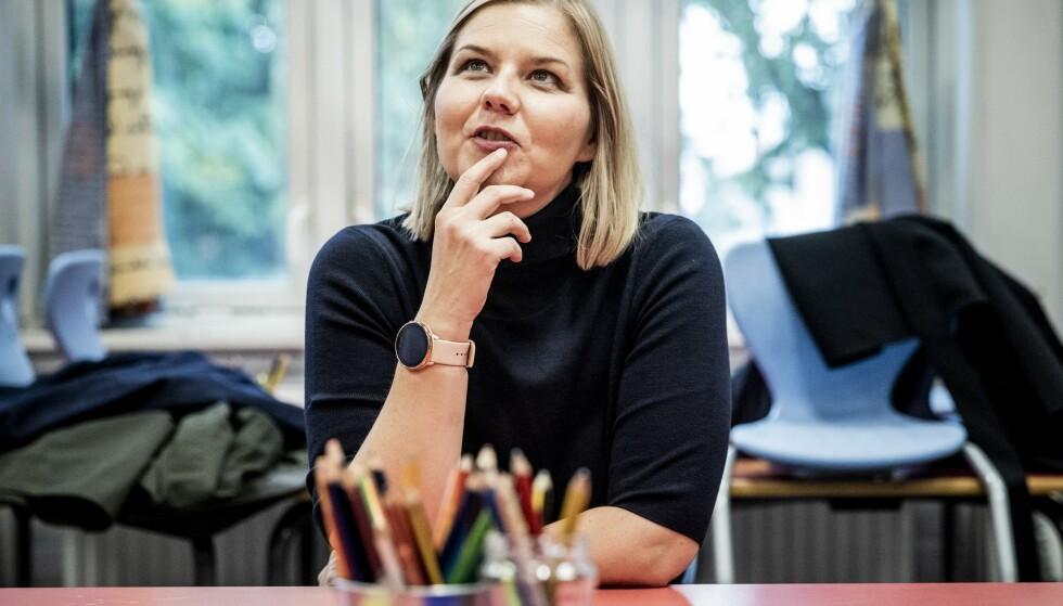 Venstre-ledelsen møter til intervju på Kampen Skole. Partileder Guri Melby. Foto: Christian Roth Christensen / Dagbladet