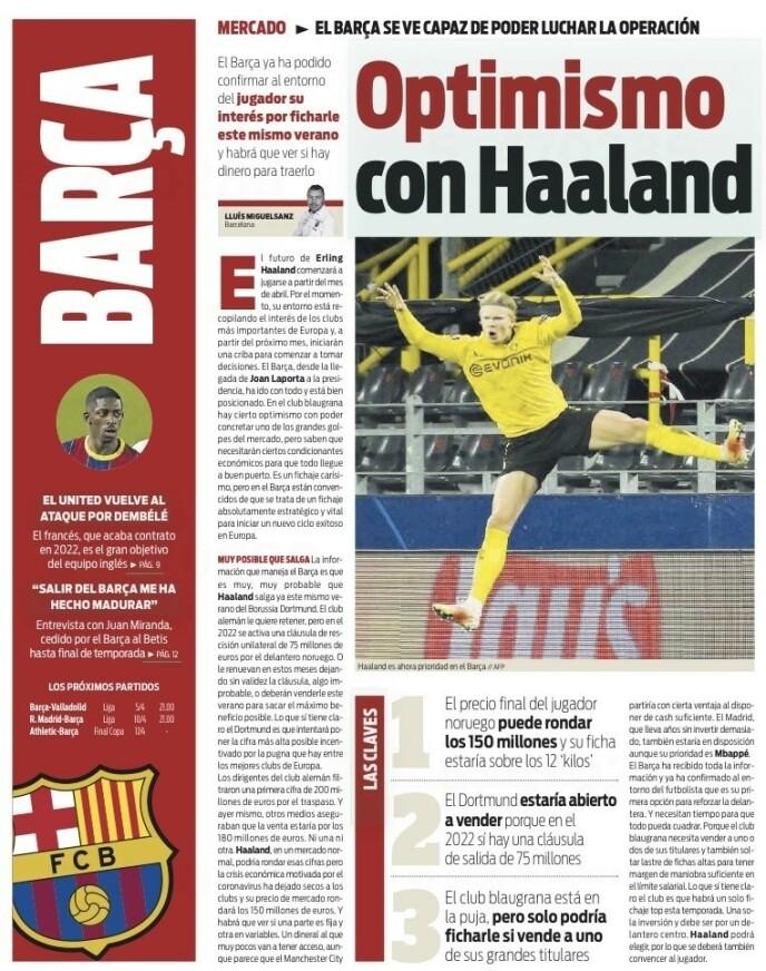 I OVERSKRIFTENE: Avisa Sport skriver mandag at det er optimisme i Barcelona med tanke på å hente Erling Braut Haaland.