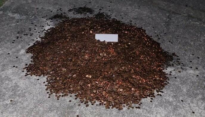DUMPET I VEIEN: Slik så pengehaugen ut da Flaten gikk ut døra. Foto: Olivia Oxley