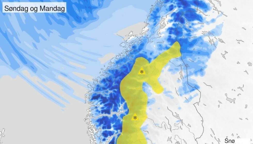 ADVARER: - Mye vær på fjellovergangene i Sør-Norge de neste dagene. Kraftig vind og snø kan skape problemer, advarer Meteorologene på Twitter. Foto: Meteorologene/Twitter