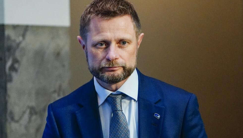 BEKYMRA: Helse- og omsorgsminister Bent Høie (H) sier til NRK at han er bekymra for økende smitte etter påskeferien. Foto: Lise Åserud / NTB