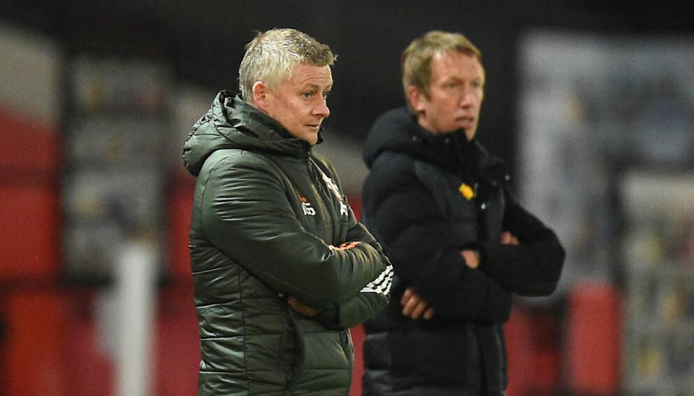 SKUFFET: Ole Gunnar Solskjær (t.v) måtte se laget sitt slite mot Graham Potter og hans Brighton. Foto: Oli Scarff/ POOL / AFP)