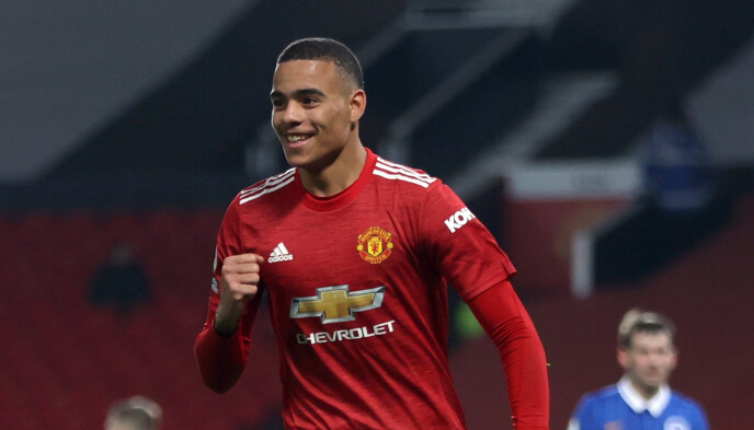 MATCHVINNER: Mason Greenwood sørget for tre viktige poeng for Manchester United. Foto: REUTERS/Clive Brunskill