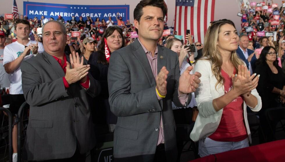 FOLKEMØTE: Matt Gaetz avbildet på et av Trumps folkemøter under valgkampen i fjor. foto: SAUL LOEB / AFP