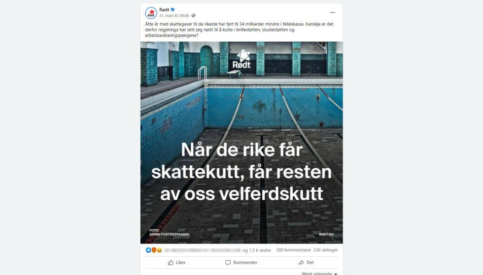 TYSKLAND: Bassenget på bildet i Rødt-posten er langt utenfor den norske velferdsstatens rekkevidde. Skjermdump: Rødt på Facebook