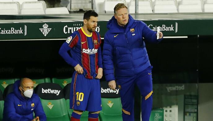 DUOEN: Lionel Messi og trener Ronald Koeman har fått mye til å stemme i Barcelona den siste tiden. REUTERS/Marcelo Del Pozo