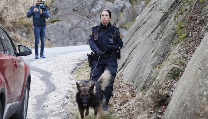 HUND: En politihund er satt inn i den tekniske etterforskningen. Foto: Tor Erik Schrøder / NTB