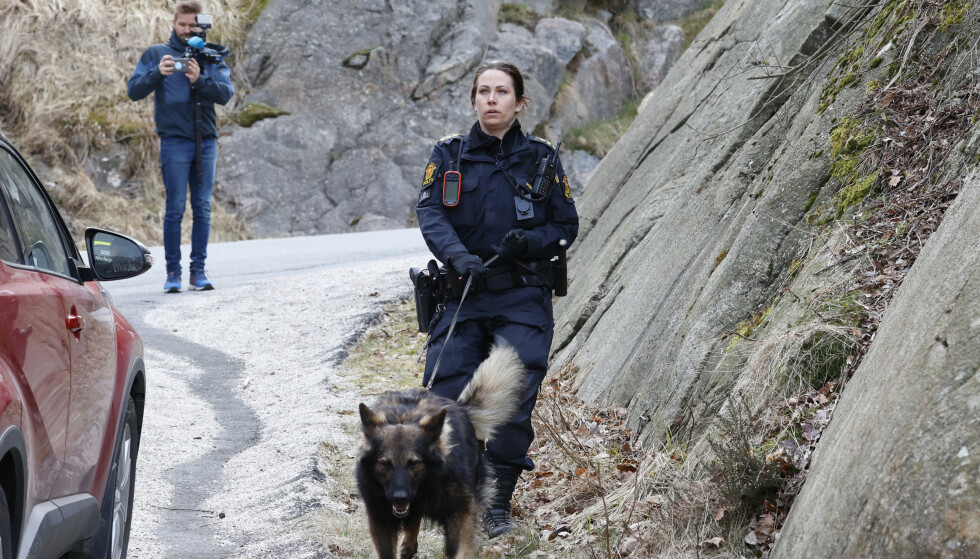 HUND: En politihund ble satt inn i den tekniske etterforskningen. Foto: Tor Erik Schrøder / NTB