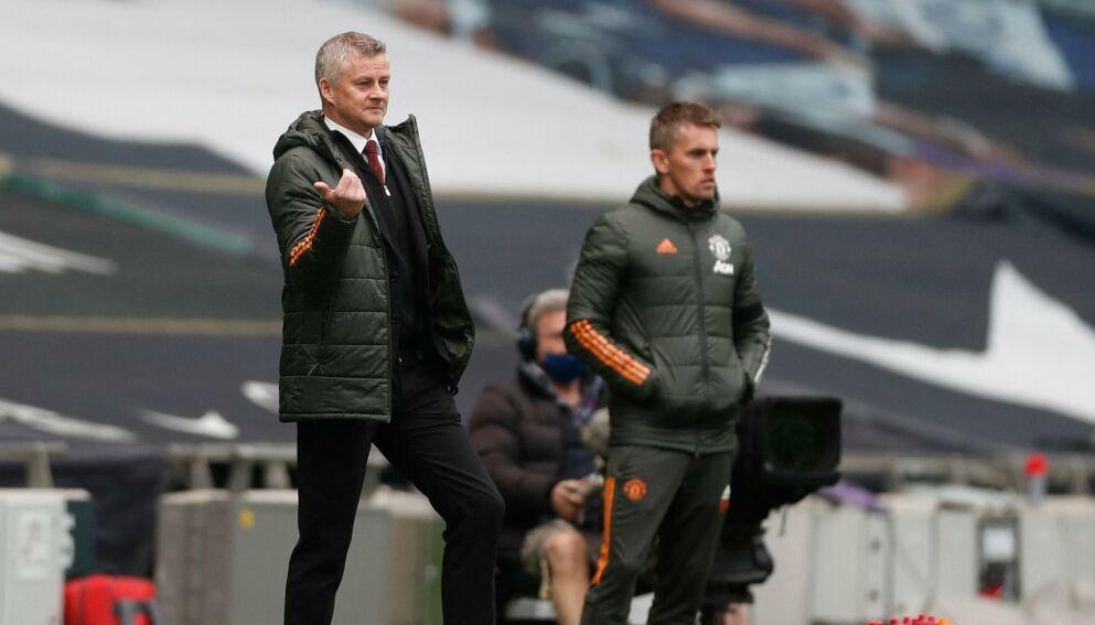 FORNØYD: Ole Gunnar Solskjær var vitne til god angrepsfotball da Manchester United slo Tottenham 3-1 søndag. Foto: NTB