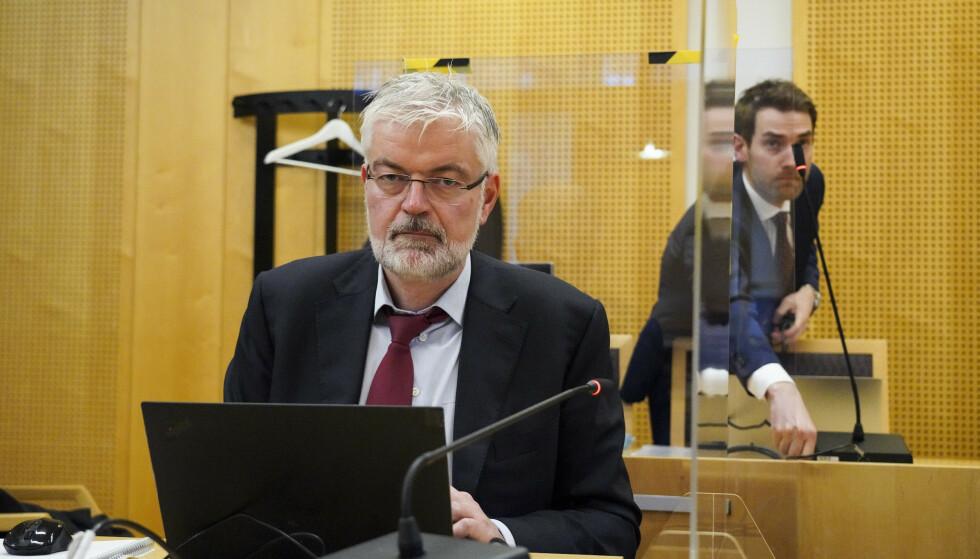 FORSVARER: Advokat Øyvind Bergøy Pedersen under rettssaken mot mannen som kapret en ambulanse i Oslo 22. oktober 2019.. Foto: Ole Berg-Rusten / NTB