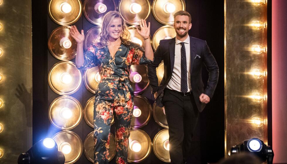 SENKVELD: Helene Olafsen og Stian Blipp entret Senkveld-scenen som programledere for første gang i 2018. Foto: Lars Eivind Bones