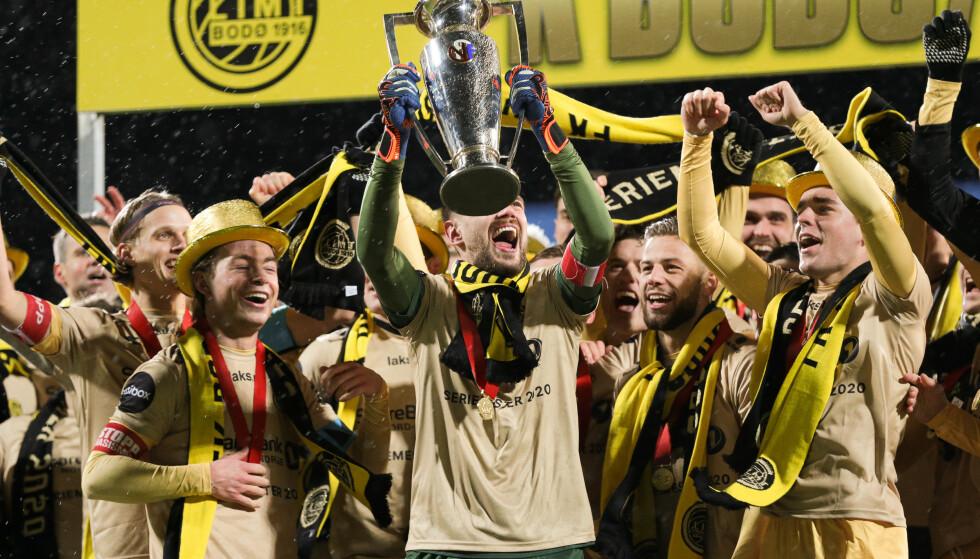 VIL FORSVARE TITTELEN: Bodø/Glimt-spillerne feiret gull i fjor. Foto: Mats Torbergsen / NTB