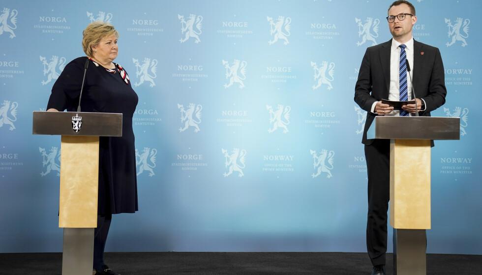 TØFFERE TIDER I VENTE: Høyre og KrF er nå uenige i synet på kontantstøtta, selv om Erna Solberg advarte sine egne i forkant. Foto: Torstein Bøe / NTB