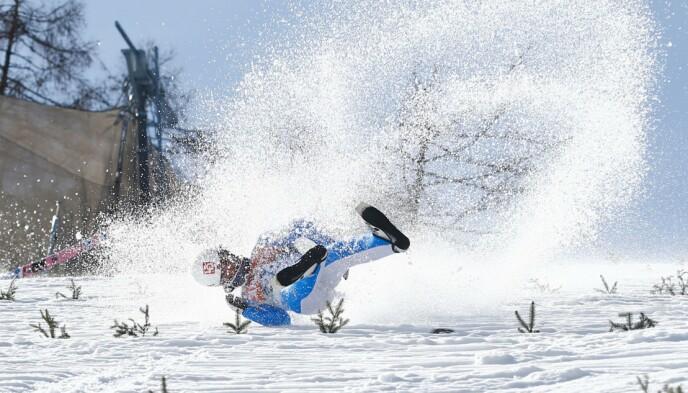 BRUTALT: Daniel-André Tande ble kastet nedover Planica-bakken 25. mars. Foto: NTB