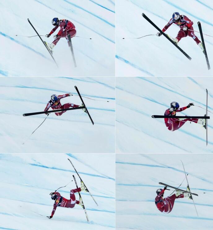 STYGT FALL: Det gikk ordentlig galt for Aksel Lund Svindal i Kitzbühel i 2016. Kneet ble aldri helt bra igjen, men han tok både OL-gull (2018) og VM-sølv (2019) i utfor. Foto: NTB