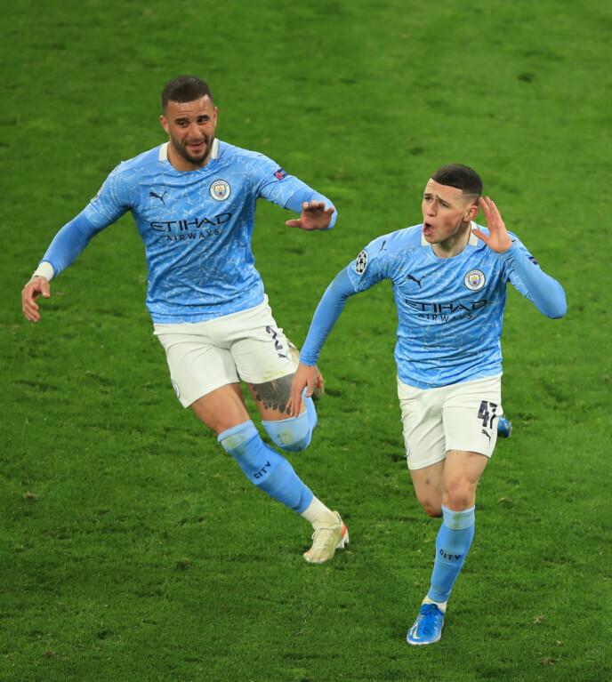 BLÅ JUBEL: Phil Foden satte inn det avgjørende 2-1-målet for Manchester City. Foto: NTB