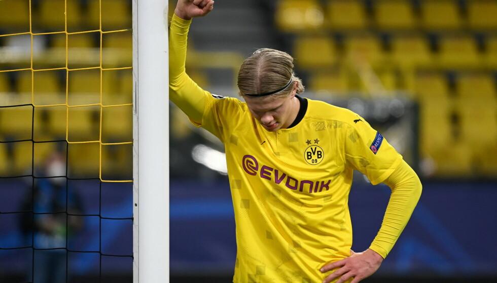 SLÅTT UT: Champions League-eventyret til turneringens toppscorer, Erling Braut Haaland stoppet i kvartfinalen onsdag. Foto: REUTERS/Ina Fassbender
