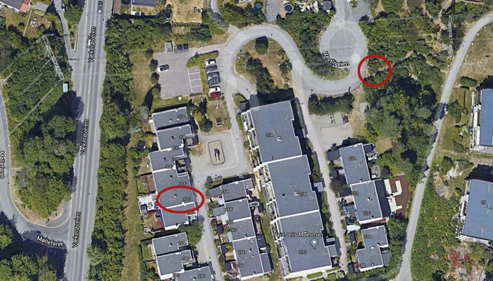 FUNN: Ringen til venstre viser drapsåstedet, og ringen til høyre viser hvor Dagbladets bilder viser at politiet gjør funn. Foto: Google Maps