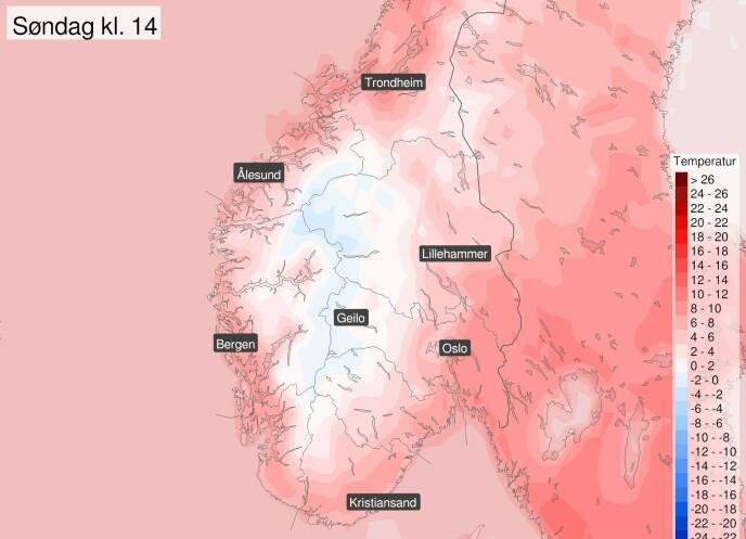 HØYTRYKK: Meteorologisk institutt kan melde om at regnet (snøen) nå tar slutt, og det blir sol, sol, sol. Foto: Meteorologene / Twitter