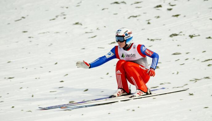 VERDENSREKORD: Så dyp i nedslaget var Anders Fannemel da han hoppet 251,5 meter i februar 2015. Foto: Vegard Wivestad Grøtt / NTB