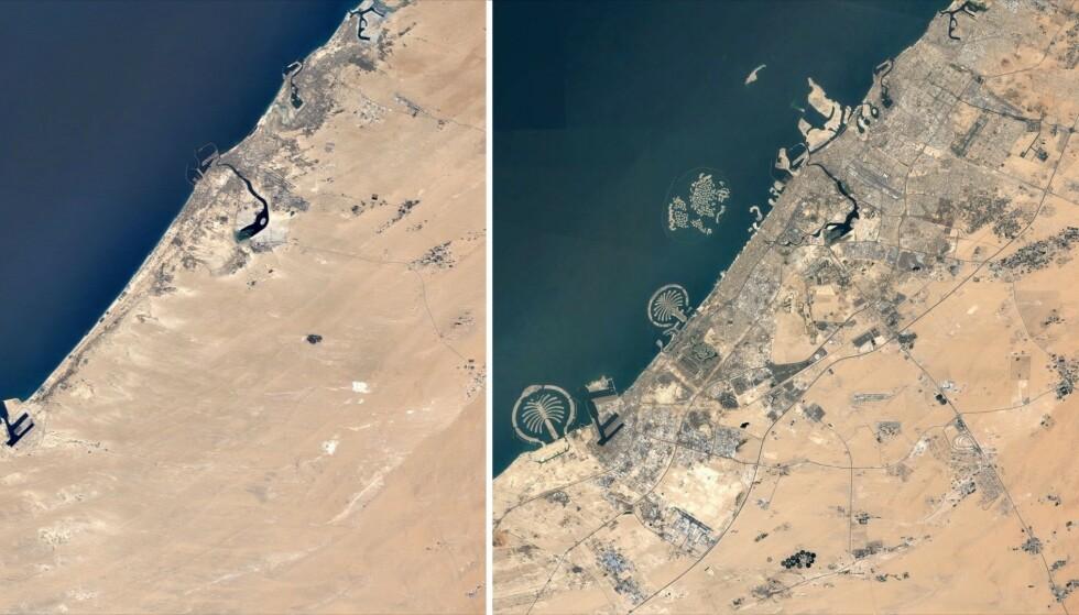 ENDRING: Disse bildene viser den enorme endringen som har skjedd i Dubai. Foto: Google Earth Timelapse.